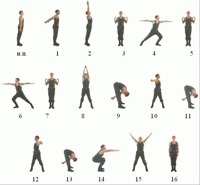 комплекс упражнений зарядка рисунок.